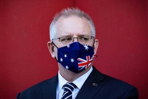 Scott morrison facemask flag upside down