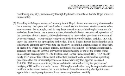TSA rules carrying cash