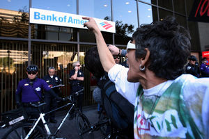 demonstrate at a Bank of America