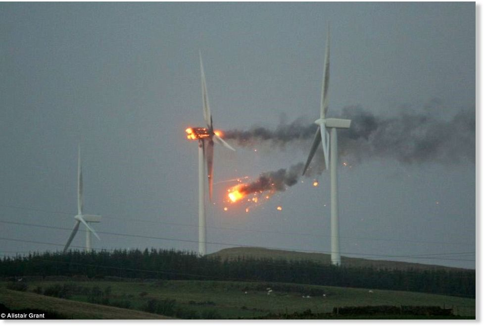 wind turbine catches fire in hurricane-force winds at Ardrossan ...