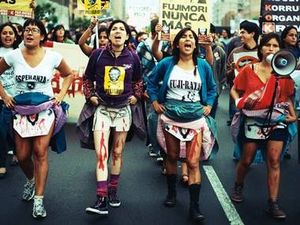 women in peru demonstrating