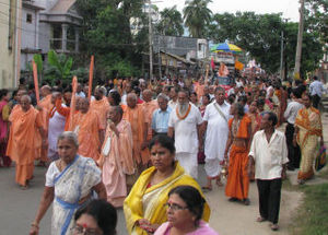 Devotees marching forward in Agartala - capital of Tripura, India. Spirituality, despite poverty and several social evils, is the hallmark of India.