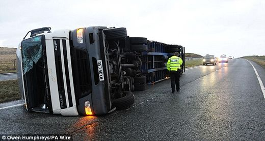 UK storm overturned lorry