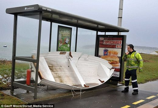 UK storm bus stop boat