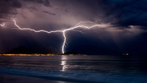 Lightning over Cape Town, South Africa.
