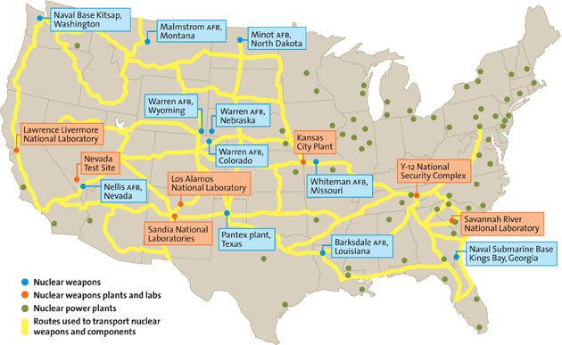 Nuclear Truckers In America Warheads On 18 Wheels Societys - Us-nuke-map