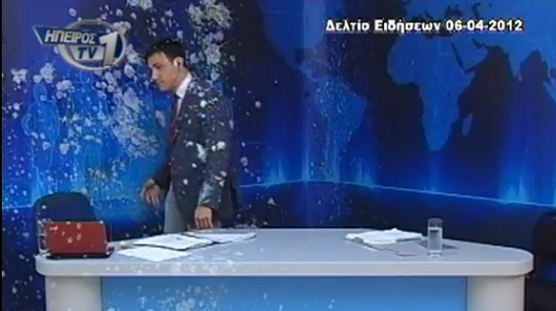 Greek protesters hit news anchor with eggs and yogurt live on air