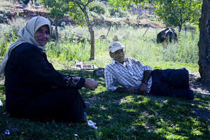 Villagers relaxing in Deir Istiya, 2009.