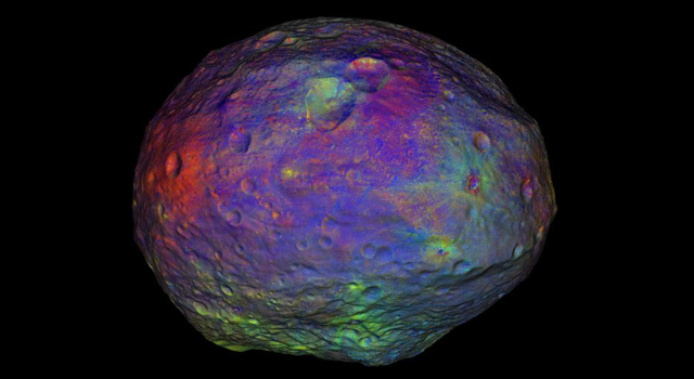 Dawn Mission Video Shows Vesta's Coat of Many Colors