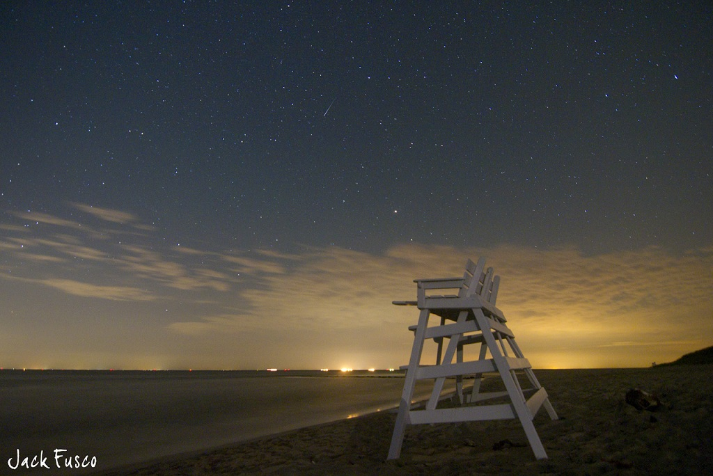Meteor Lights Up Beach Night Sky in Photo