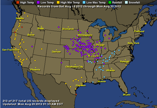 US low temps map