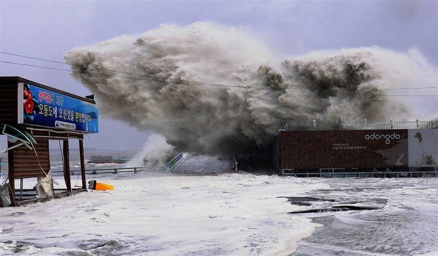 Typhoon Sanba rocks South Korea with huge waves -- Earth ...