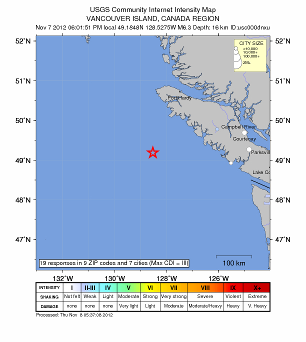 USGS: Earthquake Magnitude 6.3 - SSW of Port Hardy, Canada