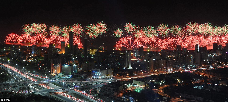 Kuwait spends £10million to put on the biggest firework display of all time for golden jubilee celebrations