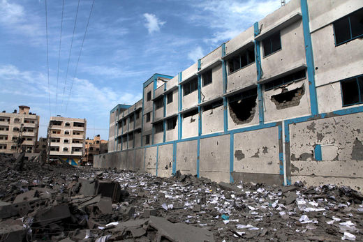 Damaged UN-run school