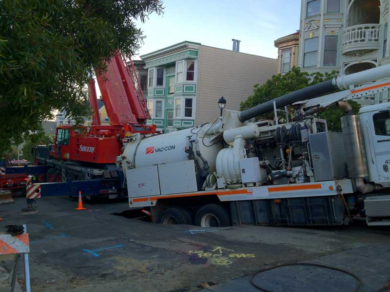 Sinkhole nearly swallows truck in San Francisco