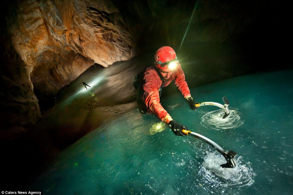 Inside the Rocky Mountain glacier-cave: Amazing underground chamber with giant ice slides that never melt
