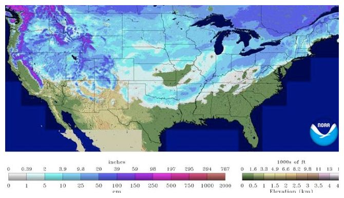 65 percent of USA covered by snow Earth Changes