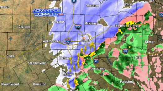 Dallas thundersnow map