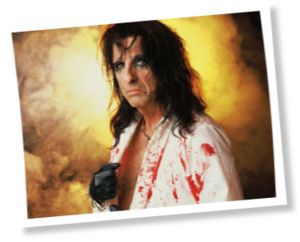 Alice Cooper in a White Bloody Shirt