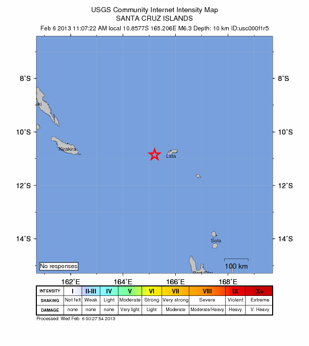 USGS: Earthquake Magnitude 6.3 - WSW of Lata, Solomon Islands
