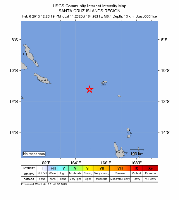 USGS: Aftershock Magnitude 6.4 - Santa Cruz Islands Region