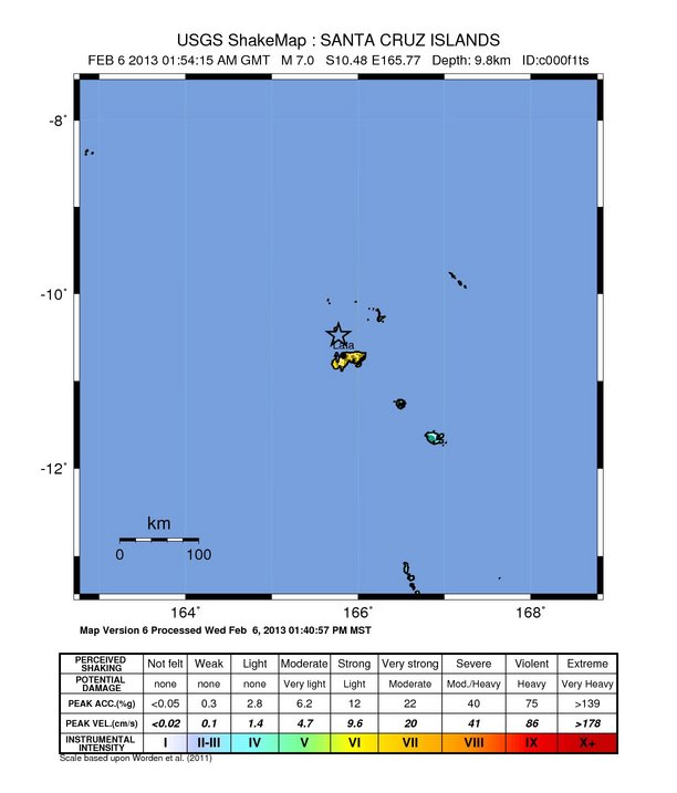 USGS: Earthquake Magnitude 7.0 - 27km NNW of Lata, Solomon Islands
