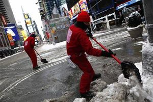 time square snow clearing