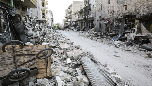 Bombed street in Syria