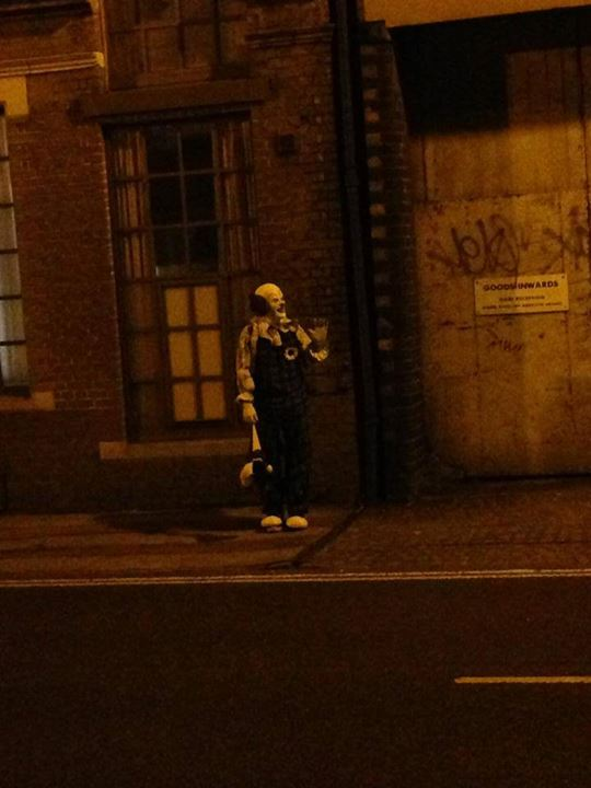 Not funny: Creepy clown lingers on streets of Northampton in middle of the night