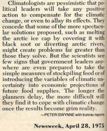 Climatologist fear global cooling