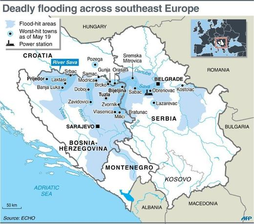 Map of flooding in the Balkans