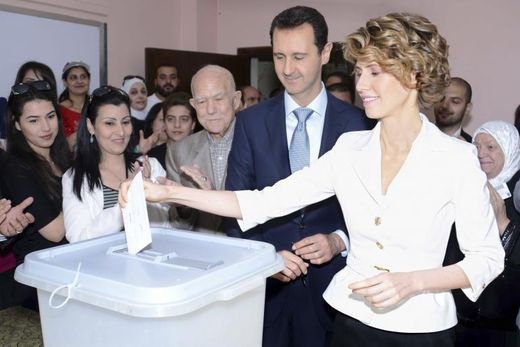 Syria's President Bashar al-Assad and his wife Asma