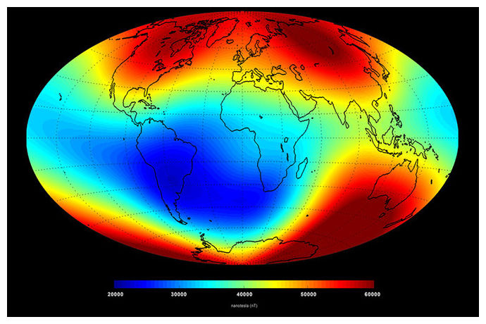 A map of Earth's magnetic field