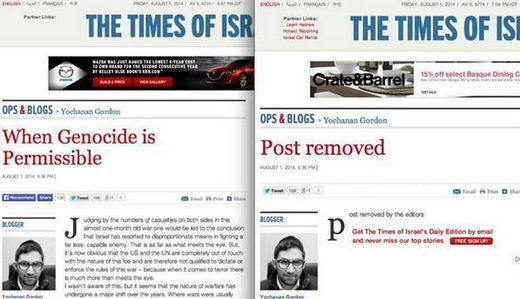 """Genocide is permissible"" muses Times of Israel, promptly retracts"